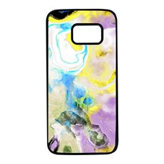 Watercolour Watercolor Paint Ink Samsung Galaxy S7 Black Seamless Case