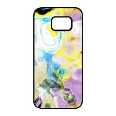 Watercolour Watercolor Paint Ink Samsung Galaxy S7 Edge Black Seamless Case