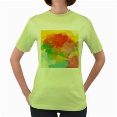 Watercolour Gradient Women s Green T Shirt
