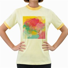 Watercolour Gradient Women s Fitted Ringer T Shirts