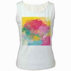 Watercolour Gradient Women s White Tank Top
