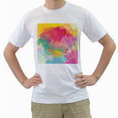 Watercolour Gradient Men s T Shirt (white) (two Sided)