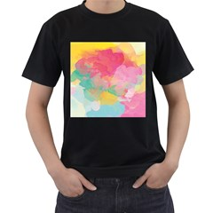 Watercolour Gradient Men s T Shirt (black) (two Sided)