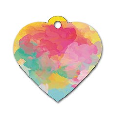 Watercolour Gradient Dog Tag Heart (one Side)