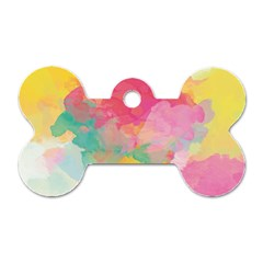 Watercolour Gradient Dog Tag Bone (one Side)
