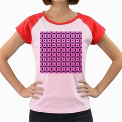 Pattern Pink Squares Square Texture Women s Cap Sleeve T Shirt