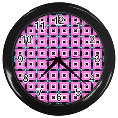 Pattern Pink Squares Square Texture Wall Clocks (black)