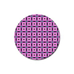 Pattern Pink Squares Square Texture Rubber Round Coaster (4 Pack)