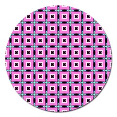 Pattern Pink Squares Square Texture Magnet 5  (round)