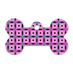 Pattern Pink Squares Square Texture Dog Tag Bone (two Sides)