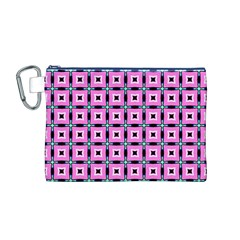 Pattern Pink Squares Square Texture Canvas Cosmetic Bag (m)