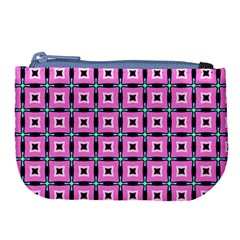 Pattern Pink Squares Square Texture Large Coin Purse