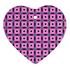 Pattern Pink Squares Square Texture Ornament (heart)