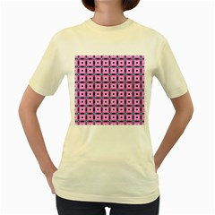 Pattern Pink Squares Square Texture Women s Yellow T Shirt