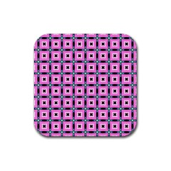 Pattern Pink Squares Square Texture Rubber Square Coaster (4 Pack)