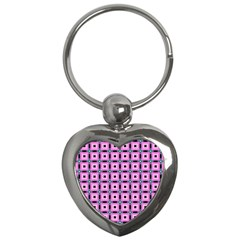 Pattern Pink Squares Square Texture Key Chains (heart)