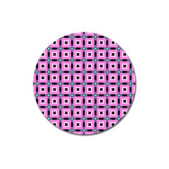 Pattern Pink Squares Square Texture Magnet 3  (round)