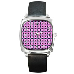 Pattern Pink Squares Square Texture Square Metal Watch