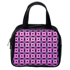 Pattern Pink Squares Square Texture Classic Handbags (one Side)