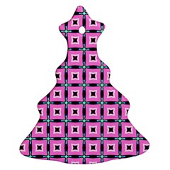 Pattern Pink Squares Square Texture Ornament (christmas Tree)