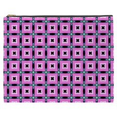 Pattern Pink Squares Square Texture Cosmetic Bag (xxxl)