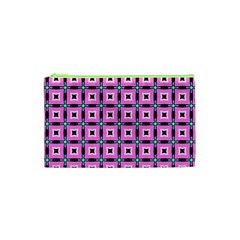 Pattern Pink Squares Square Texture Cosmetic Bag (xs)