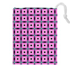 Pattern Pink Squares Square Texture Drawstring Pouches (xxl)