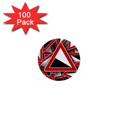 Road Sign Auto Gradient Down Below 1  Mini Buttons (100 Pack)