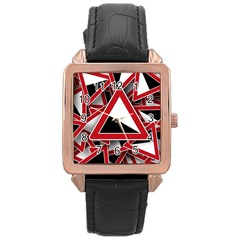 Road Sign Auto Gradient Down Below Rose Gold Leather Watch