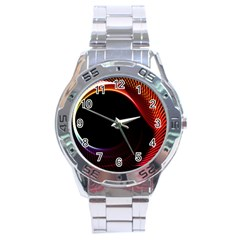 Grid Bent Vibration Ease Bend Stainless Steel Analogue Watch