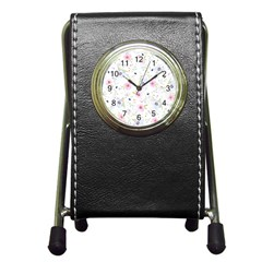 Floral Pattern Background Pen Holder Desk Clocks