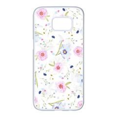 Floral Pattern Background Samsung Galaxy S7 Edge White Seamless Case