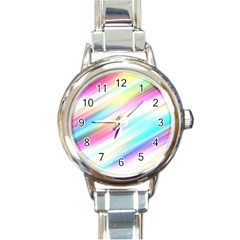Background Course Abstract Pattern Round Italian Charm Watch