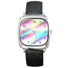 Background Course Abstract Pattern Square Metal Watch