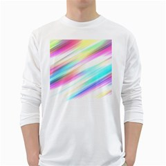 Background Course Abstract Pattern White Long Sleeve T Shirts