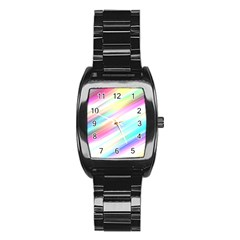 Background Course Abstract Pattern Stainless Steel Barrel Watch