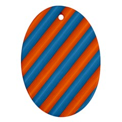 Diagonal Stripes Striped Lines Ornament (oval)