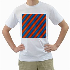 Diagonal Stripes Striped Lines Men s T Shirt (white) (two Sided)
