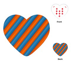Diagonal Stripes Striped Lines Playing Cards (heart)