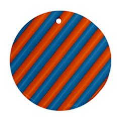 Diagonal Stripes Striped Lines Round Ornament (two Sides)