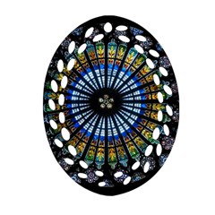 Rose Window Strasbourg Cathedral Oval Filigree Ornament (two Sides)