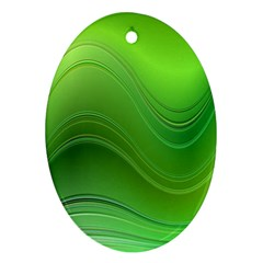 Green Wave Background Abstract Ornament (oval)