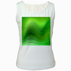 Green Wave Background Abstract Women s White Tank Top