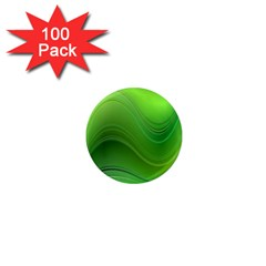 Green Wave Background Abstract 1  Mini Magnets (100 Pack)