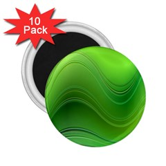 Green Wave Background Abstract 2 25  Magnets (10 Pack)