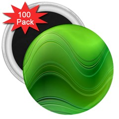 Green Wave Background Abstract 3  Magnets (100 Pack)