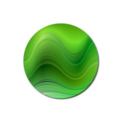 Green Wave Background Abstract Rubber Coaster (round)
