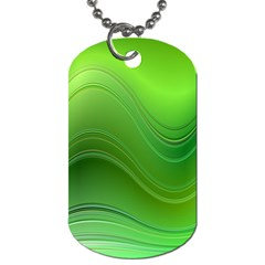 Green Wave Background Abstract Dog Tag (one Side)