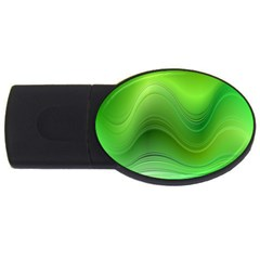 Green Wave Background Abstract Usb Flash Drive Oval (2 Gb)