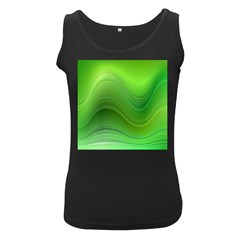 Green Wave Background Abstract Women s Black Tank Top